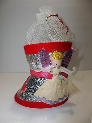 """Antique Dresden STOCKING CANDY CONTAINER Christmas Decoration 4"""" Purple Wings"""