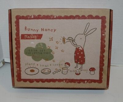 New Maileg Bunny Honey 5 Piece Dish/Plate Gift Set - Dishwasher Top Rack Safe