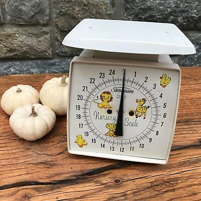 VTG Sunbeam Nursery Baby Scale Clean Vintage Decor Display White Animals 25#