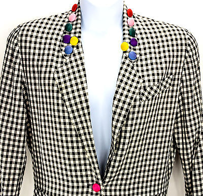 Black & White Gingham Vintage 1980s Jacket w Bright Button Details Size S