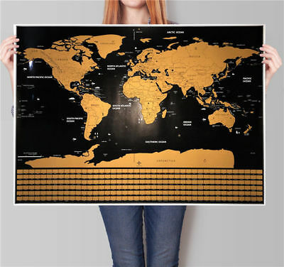 World Travel Scratch Off Map Poster with US States and Country Flags Gift Xmas