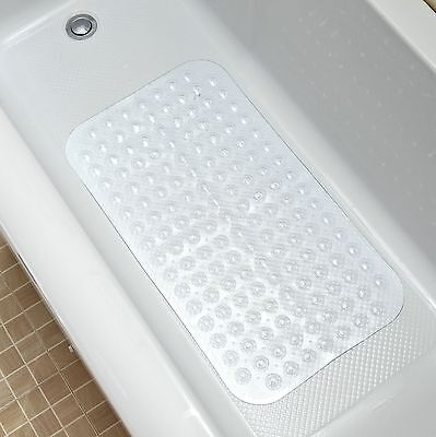 Clear PVC Bathroom Bath Tub Mat Anti-Slip Mat Drain Holes Slippery Resistant NEW