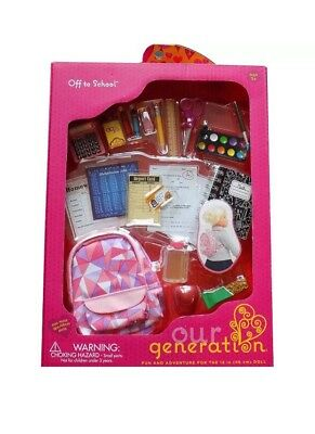 """Our Generation OFF TO SCHOOL Backpack Snack Food Set 18"""" American Girl Doll NEW"""