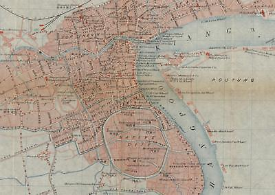 Shanghai China city plan markets hotels police stations 1910-20 detailed map