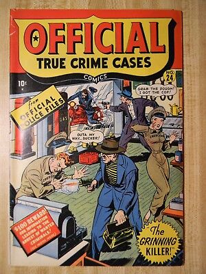 Official True Crime Cases #24 (Vg+) (4.5) (Si-5) Scarce! 1947, Syd Shores Cover!