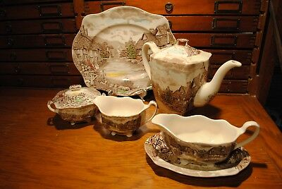 Johnson Brothers Olde English Countryside 6 Pc Serving Set Coffee Pot Gravy Boat