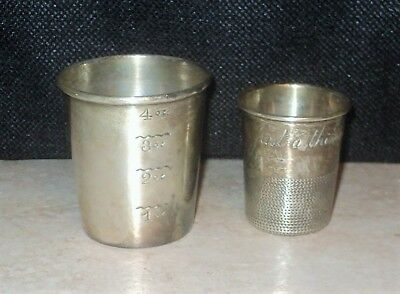 Two STERLING SILVER Shot Glass Cups NEWPORT TOWLE Just A Thimble Full Not Scrap