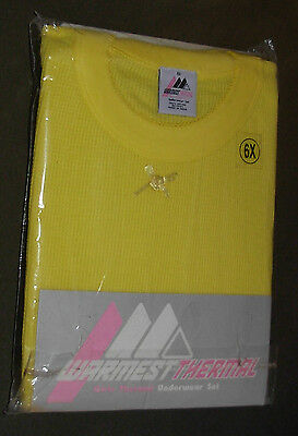 New Yellow Size 6X Girls 2 Piece Thermal Underwear Set Long Johns Waffle Knit