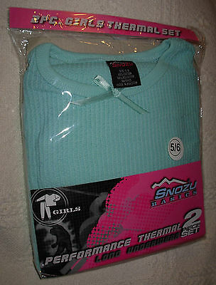 New Green Sz. 5-6 Girls Performance Thermal Underwear Shirt Pants Set Long Johns