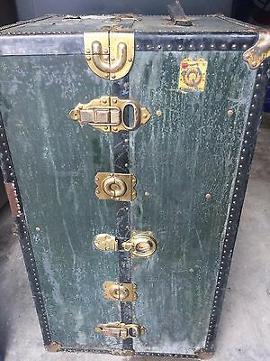 Antique Traveling Wardrobe Steamer Trunk made by Hartmann Cushion