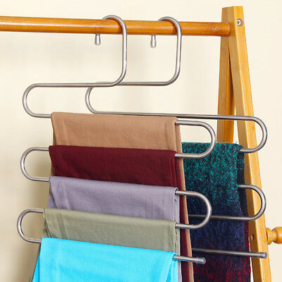 Silver Pants Trousers Hanging Clothes Hanger home 5 Layers Space Saver Neat room