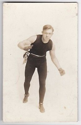 BOXING - GEORGE CHIP, US MIDDLEWEIGHT (CAREER 1909-22) - VINTAGE c1910/20 RPPC