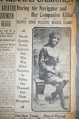 1st Woman Pilot Harriet Quimby Killed - 1912 San Francisco Newspaper Front Page