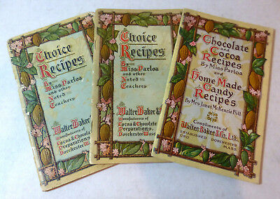 1906-09 chocolate, cocoa recipies by Miss Parola booklets lot (3), Walter Baker