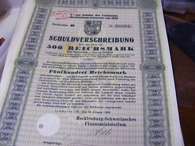 Germany 500 Reichmark Stock Market Bond  Debenture 1929,Size 290mm X 210mm.
