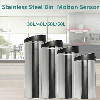 30~60L Stainless Steel Bin Rubbish Motion Sensor Waste Automatic Trash Kitchen