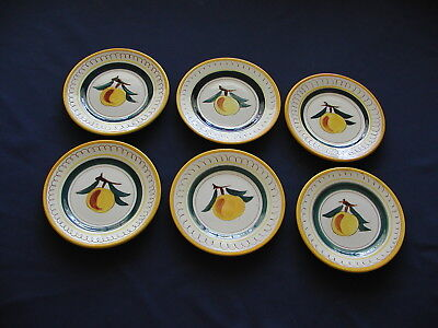 Lot of 6 Peach Fruit (Yellow Trim) by STANGL 6 1/8 Bread & Butter Plates