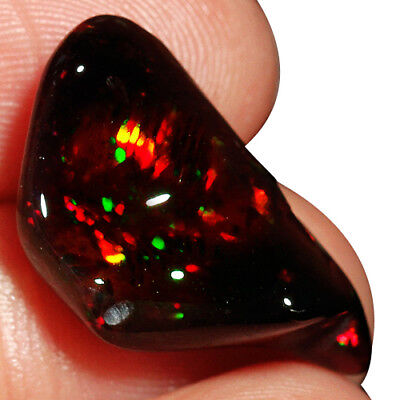 6.7CT Natural Ethiopian Black Opal Nugget Polished Carved Unique UBZO670