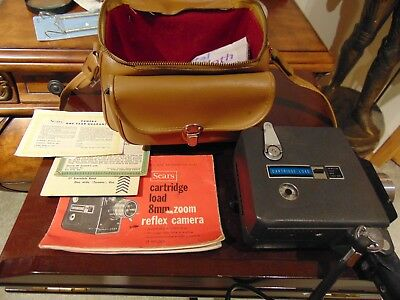 Sears Cartridge Load 8mm Zoom Reflex Camera, with original manual And Case