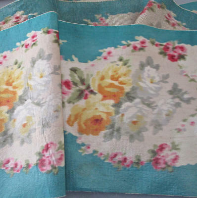"""Antique 19thC French IKAT Watered Silk SASH Silver Threads 9""""X106"""" ROSES on Blue"""
