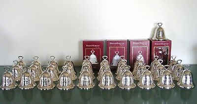 Lot of 32 REED AND BARTON Christmas bell ornaments 30 years silver plated