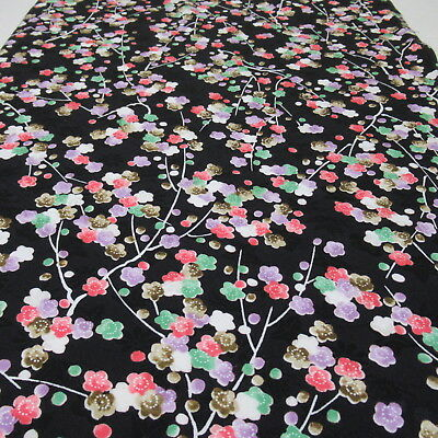 "D821 Japanese Kimono Silk Fabric Black 59"" Flower Vintage Quilt Handicraft"