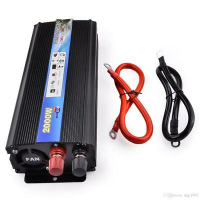 2000W Car Vehicle USB DC 12V  to AC 220V Power Inverter Adapter Converter