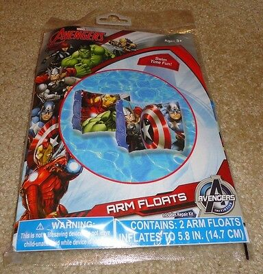 Brand New Marvel Avengers Inflatable Set of Pool Arm Floats w/ Repair Kit