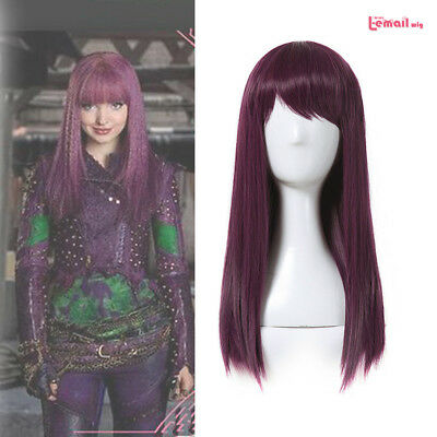 Descendants 2 Mal Purple Red Straight Cosplay Wig Womens Halloween Party Wigs US