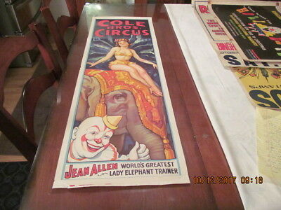 Cole Bros. Circus Poster  ELEPHANT WITH JEAN ALLEN   1940'S 1/2  Upright Panel
