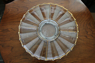 Vtg. Divided  Glass Tray  Lazy Susan With Glass Foot And Metal Turntable Insert