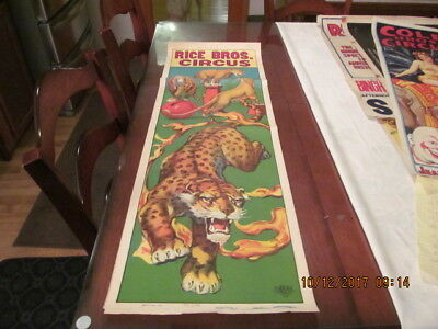 Rice Bros. Circus Poster 1935 Lions & Mutant Tiger - Leopard  1/2 Upright Panel