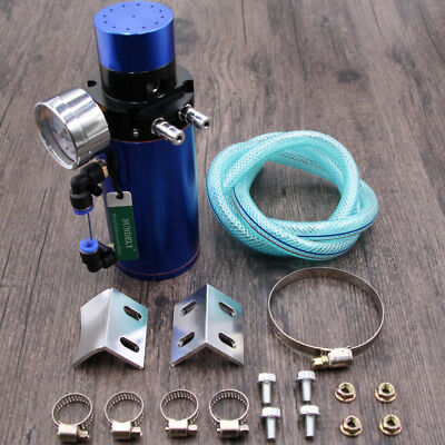 Au Blue Universal Racing Engine Oil Catch Can Tank Breather Filter Gauge