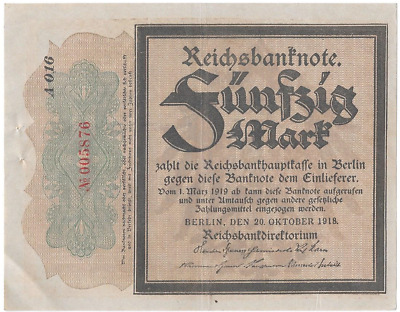 Billet allemand 50 mark 20 octobre 1918 Germany