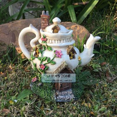 Tea Pot Fairy Solar House Elf Goblin Light Up Home Outdoor Garden Decor