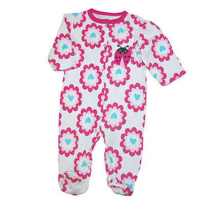 Baby Girl Ladybug Footed Coverall Infant  One piece Sleepwear 0-9months