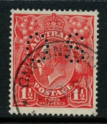 KGV Head Single Wmk Perf OS 1½d Red FU SG O80 #12889