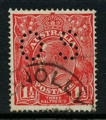 KGV Head Single Wmk Perf OS 1½d Red FU SG O80 #12883