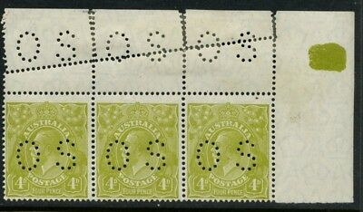 KGV Head SM Wmk Perf 14 Perf OS 4d Olive MUH **STRIP WITH MIS PERF** SG O94 #130