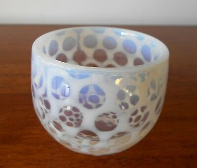 Vintage Opalescent Glass Coin Spot Small Round Squat Vase