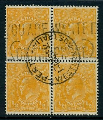 KGV Head SM Wmk Perf 13½ ½d Orange FU *BLOCK OF 4* SG 94 #17216