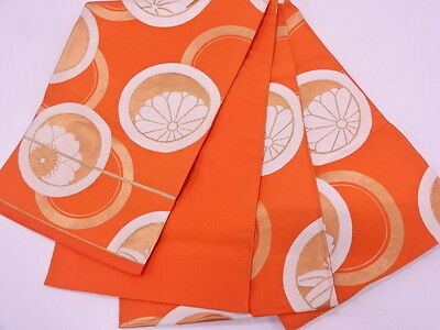 Vintage Japanese Orange/Gold/Ivory Silk Fukuro-Obi 'Circles & Flowers' Runner?