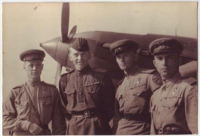 RUSSIAN WWII PRESS PHOTO: PILOTS OF 16th AIR ARMY, TWO HEROES OF SOVIET UNION