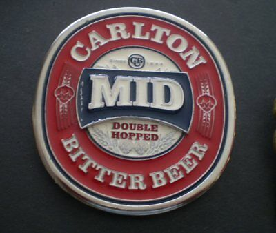 Australian METAL  tap top badge - Unused  - Carlton Mid Bitter Beer - FREE POST