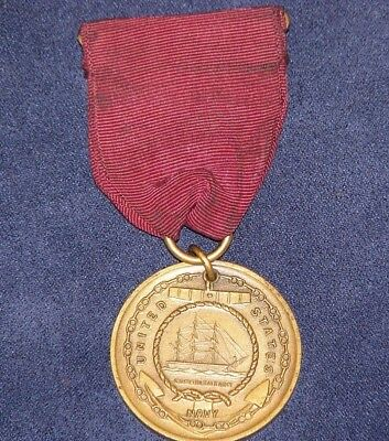 Original WWII US Navy Good Conduct Medal with Ribbon Sewn Down Broach Pin Back