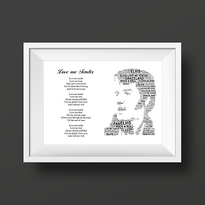 Elvis Presley Lyrics Word Art Personalised Keepsake Gift