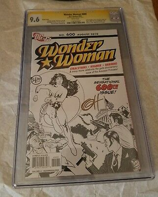 Wonder Woman #600 Sketch Variant CGC 9.6 SS Signed DC Comics Adam Hughes Cover
