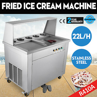 Double Pan 5 Buckets Fried Ice Cream Machine with Dust Cover R410A Defrost