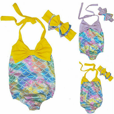 2-7Y Mermaid Girl Kids Bathing Swimwear Bikini Tankini Swimsuit Swimming Costume