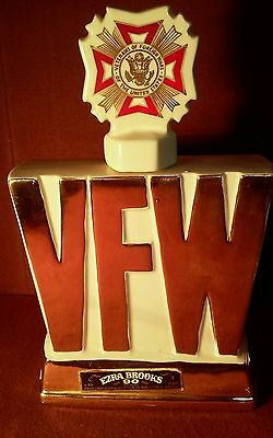 "Vintage EZRA BROOKS VFW Decanter 10""H Hand Decorated 24K Gold 4/5 Qt 1974 EMPTY"